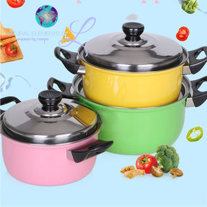 Natural Elements 3Pcs/set Stainless Steel Quality Nonstick Pan Set