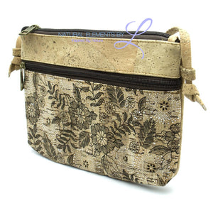 Natural Elements Cork Handmade Double Zipper Crossbody Messenger Handbag-325-A