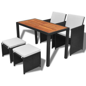 11 Piece Outdoor Dining Set Black Rattan Acacia Wood