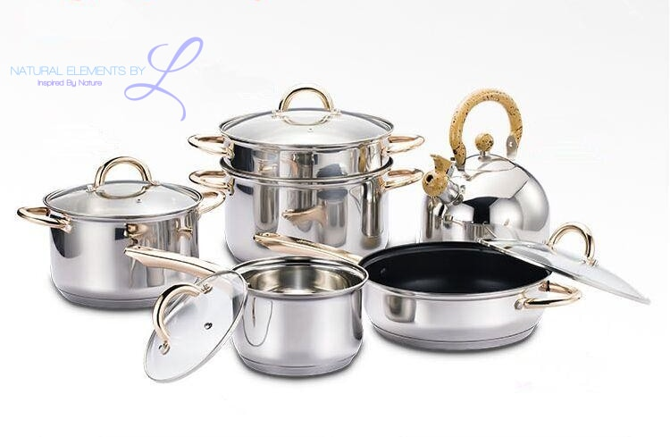 Natural Elements 10pc Stainless Steel Cookware Set