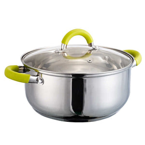 24cm Stainless Steel Pot Green Silicone Handles