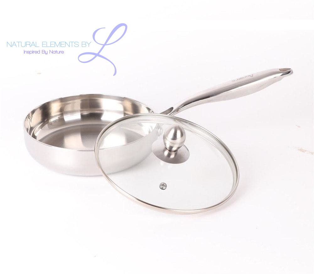 Natural Elements 20cm Multi-Ply Stainless-Steel Frying pan with Glass Lid