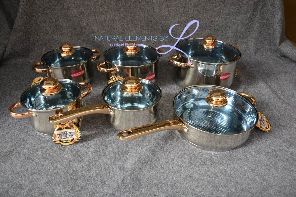 Natural Elements 12pcs Cookware Set With Gold-Plating Handle And Knob Glass Lid