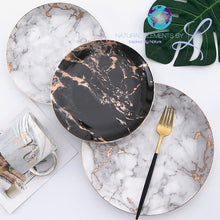 Natural Elements Nordic Style Marble Dinner Plates Ceramic Gold Inlay