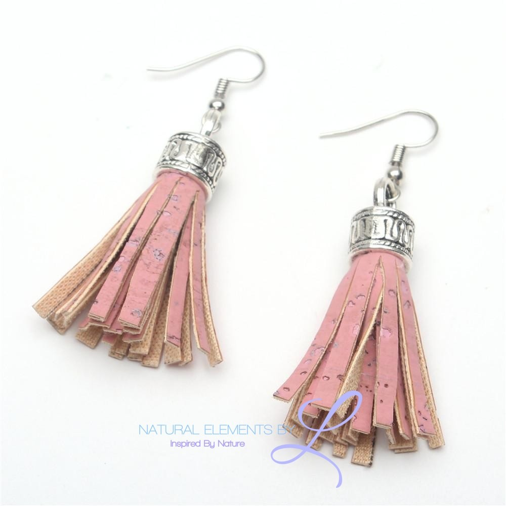 Natural Elements Cork Handmade Tassel Earrings Erw-001