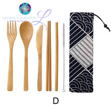 Natural Elements Wooden Dinnerware With Cloth Bag