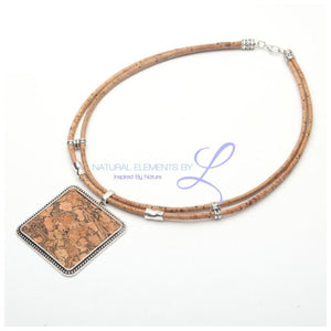 Natural Cork Square Women Vegan Necklace