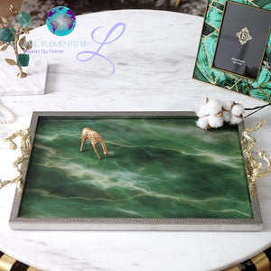 Natural Green Agate Stone Serving Tray European Style