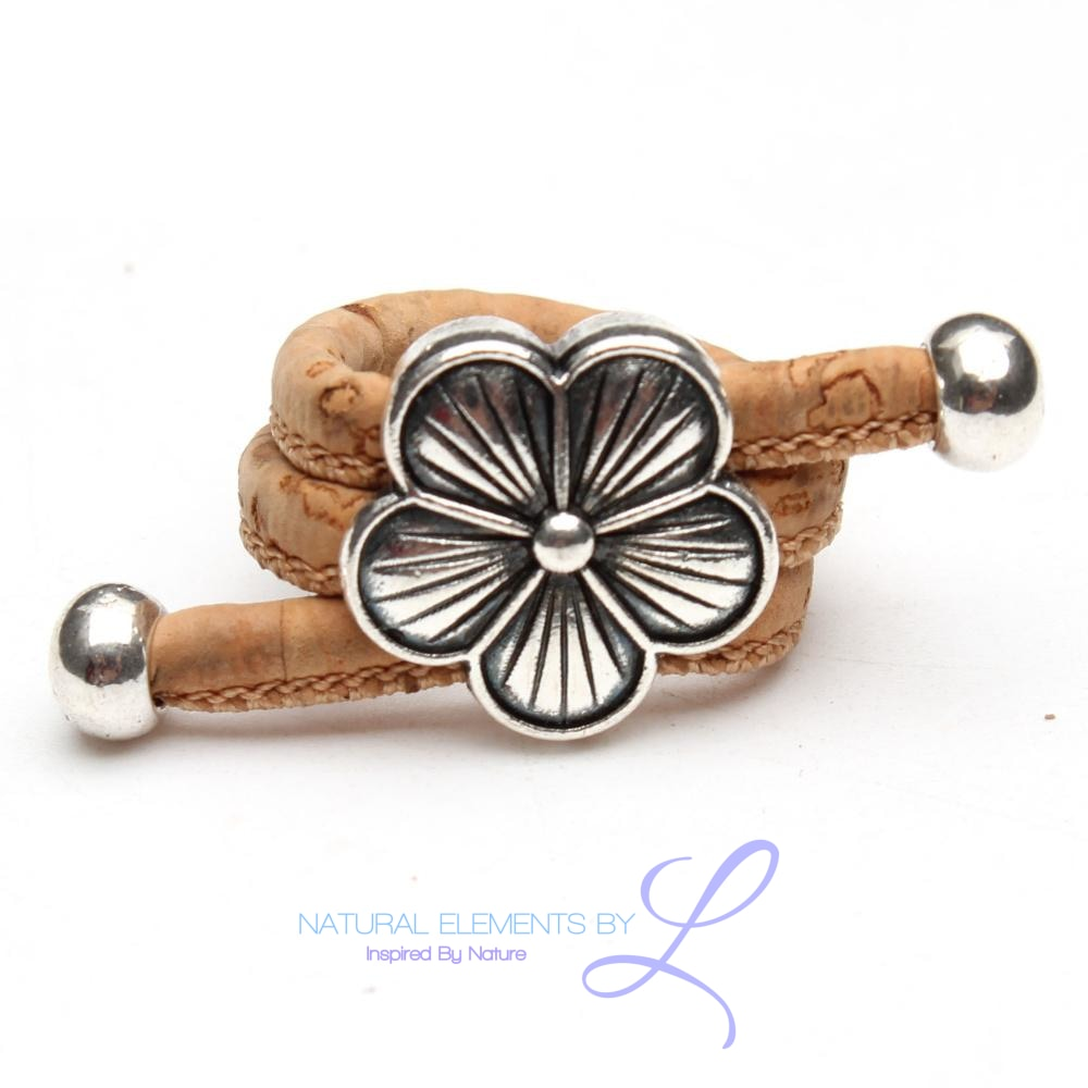 Natural Elements Cork Daisy Antique Silver Flower Ring Handmade HR-032