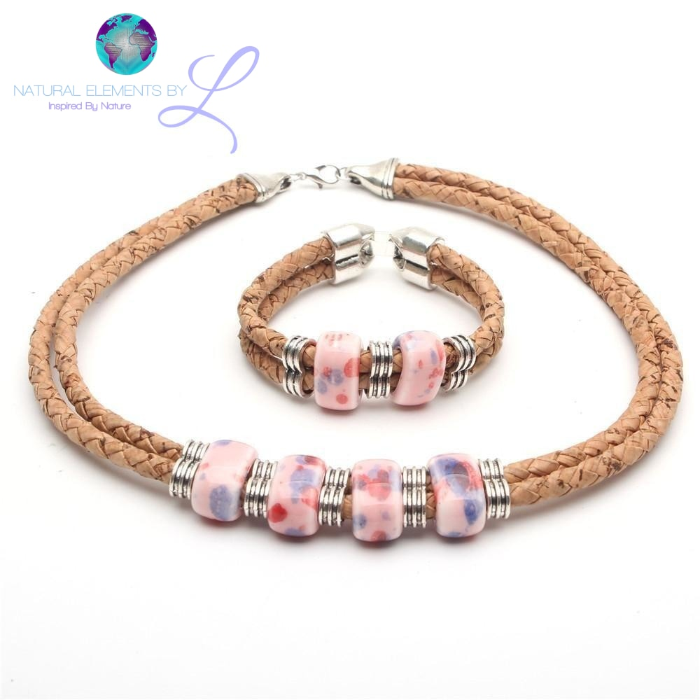 Natural Elements Cork Pink Ceramic Beads Set