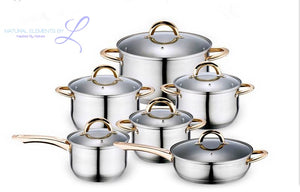 Natural Elements 12PC 18/10 Stainless Steel Cookware Set with Glass Lid