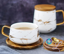 Nordic Style Marble Gold Series Ceramic Mug with Wooden Lid Tray