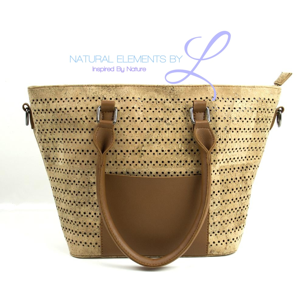 Natural Elements Cork Handbag with Camel Vegan Leather Large Tote 317-B