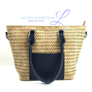 Natural Elements Cork Handbag with Navy Blue Large Tote 317-C