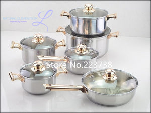 Natural Elements 12 Pc Stainless Steel Cookware Set  Glass Lid