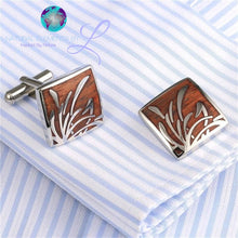 Natural Elements Exquisite Redwood Wave Pattern Cufflinks