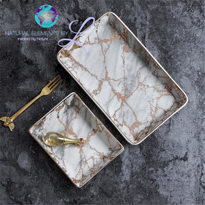 Natural Elements Nordic Storage Trays Marble Pattern Ceramic