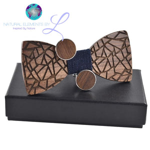 Natural Elements Wood Bow Ties Geo