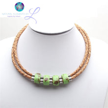 Natural Elements Cork Green Ceramic Beads Jewelry Set