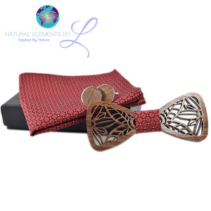Natural Elements Wooden Bow Tie Set and Handkerchief