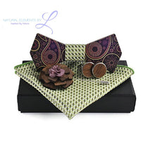 Natural Elements Wood Bow Tie Brooch Cuff Links Handkerchief Sets