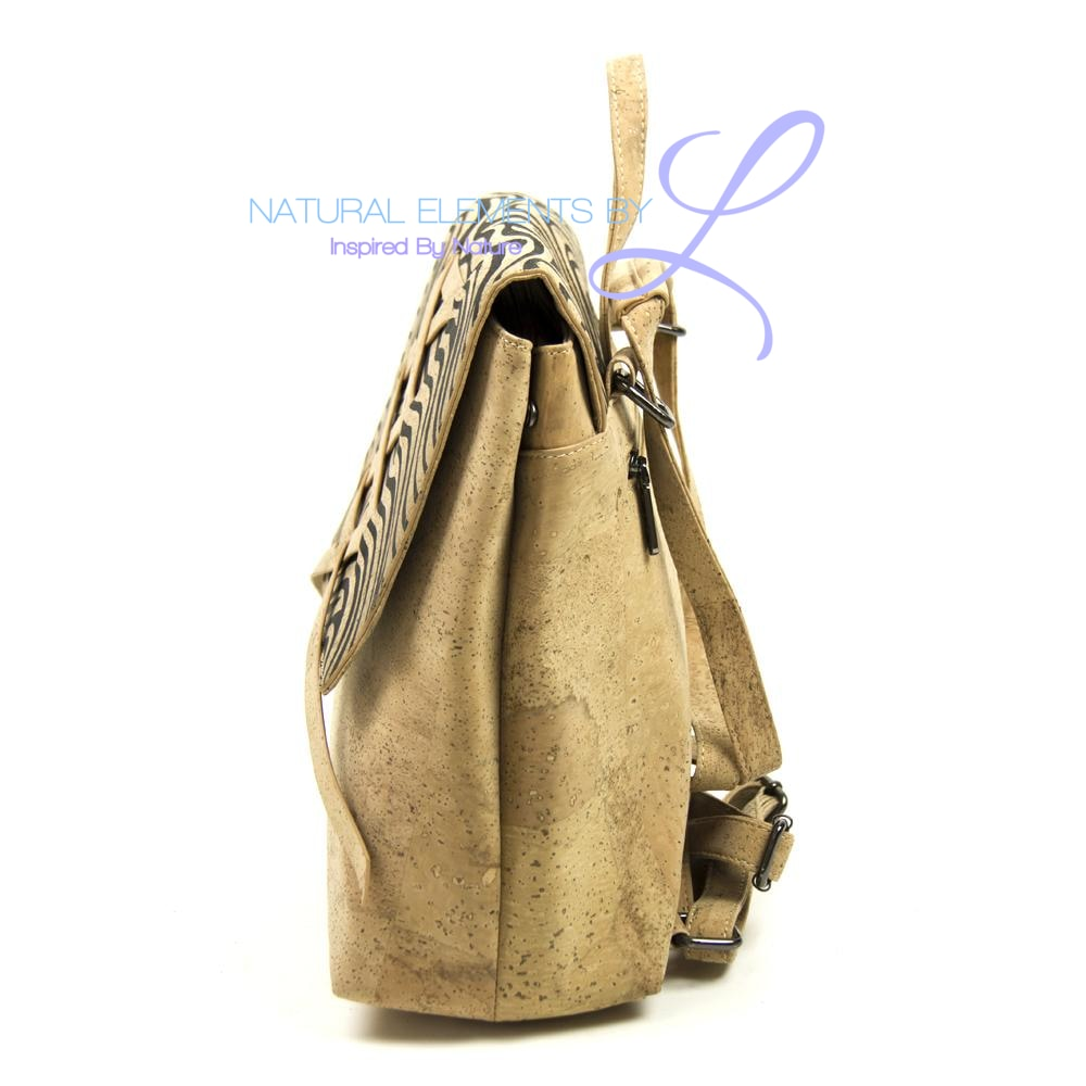 Natural Elements Cork Lady Backpack with Black Pattern Double Handle  310-B
