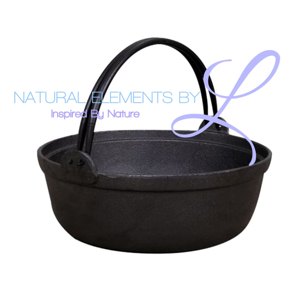 Natural Elements Cast Iron Stock Pot Deep Skillet With Wood Cover Elements Cookware