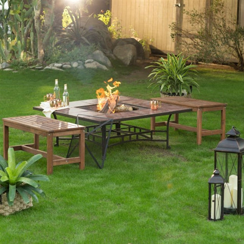 3 Piece Natural Elements Natural Wood Backless Benches Fire Pit Table Set