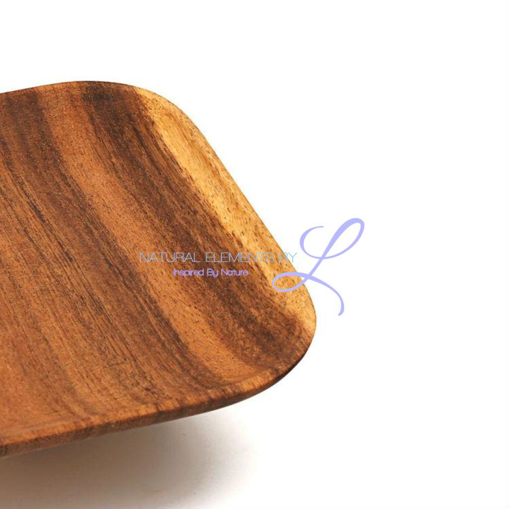 Set Of 2 Premium Acacia Wood Square Cake Plates