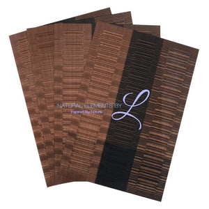 Set Of 4 Bamboo Fiber Placemats Brown And Black Kitchen Elements