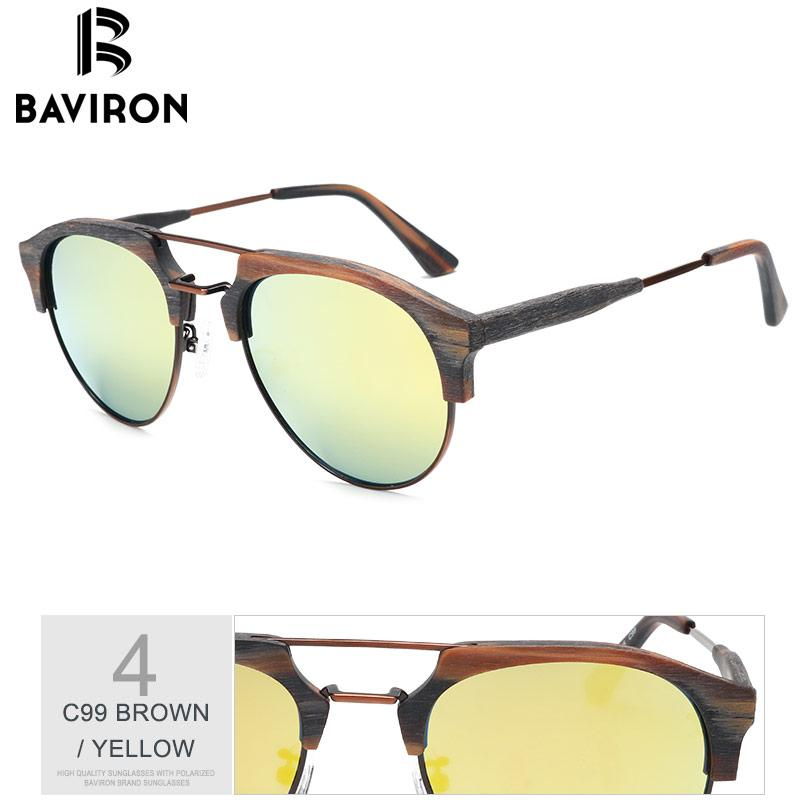 Sunglasses - BAVIRON Wooden Sunglasses Unisex Retro UV400