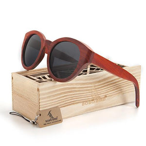 Sunglasses - BOBO BIRD Red Wood Women Sunglasses Cat Eye Handmade Polarized UV400