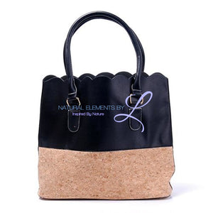 Vegan Leather Natural Cork Patchwork Tote Bag * Can Be Personalized Black Pu Bottom Handbags