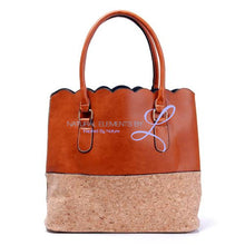Vegan Leather Natural Cork Patchwork Tote Bag * Can Be Personalized Brown Pu Bottom Handbags