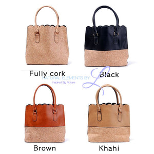 Vegan Leather Natural Cork Patchwork Tote Bag * Can Be Personalized Handbags