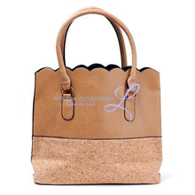 Vegan Leather Natural Cork Patchwork Tote Bag * Can Be Personalized Khaki Pu Bottom Handbags