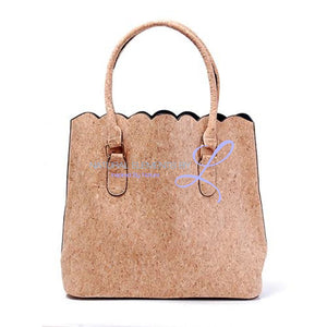 Vegan Leather Natural Cork Patchwork Tote Bag * Can Be Personalized With Embroidery_6 Handbags