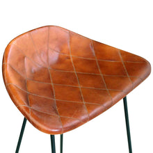 Natural Elements Bar Chair 2 pcs Real Leather Brown