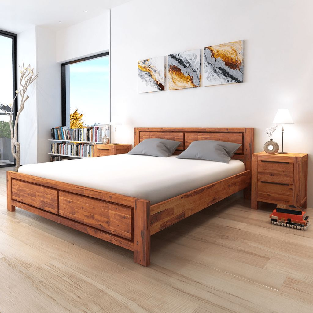 Natural Elements Bed Frame Solid Acacia Wood Brown King Size