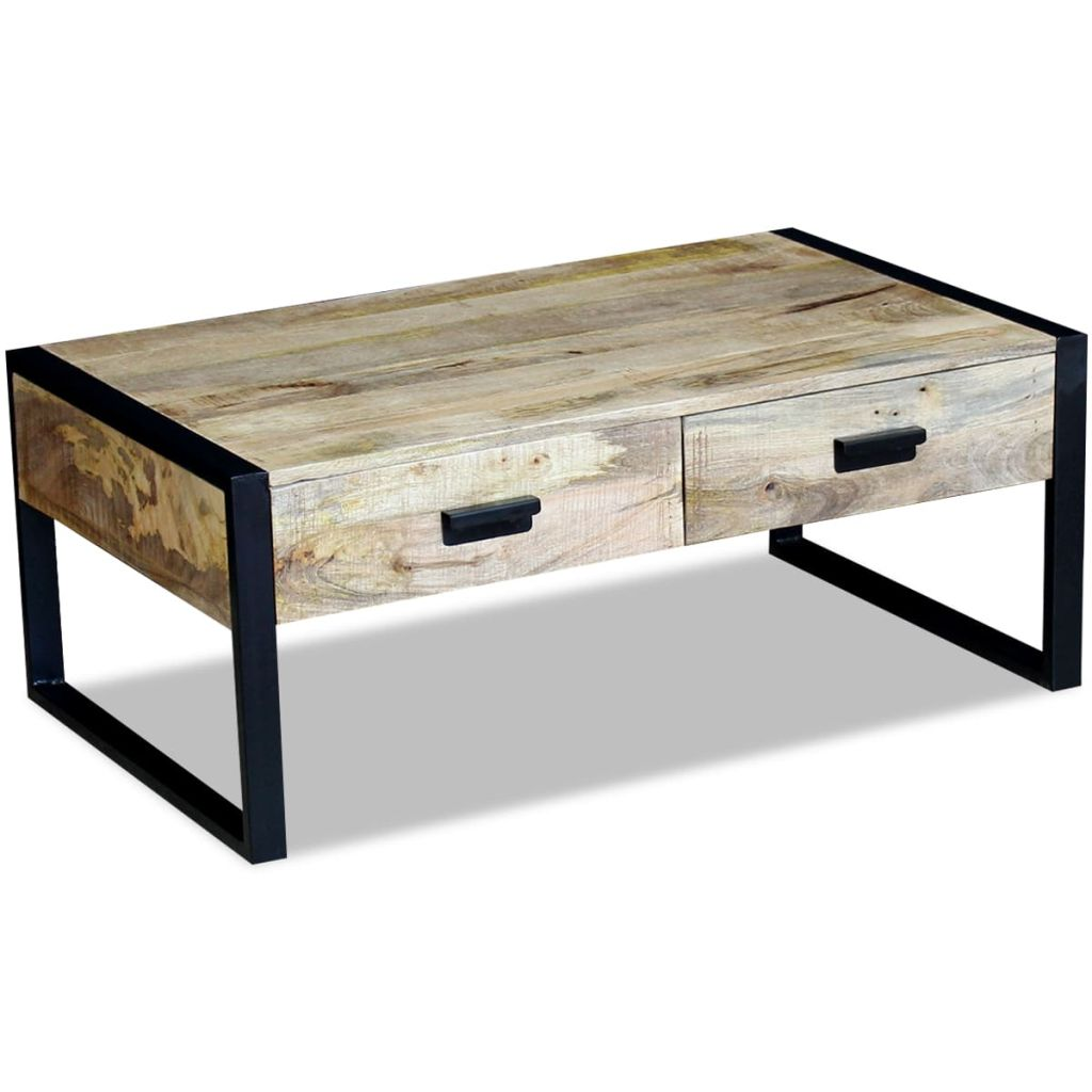 Natural Elements Coffee Table With Drawers Solid Mango Wood - Rectangle coffee table with drawers