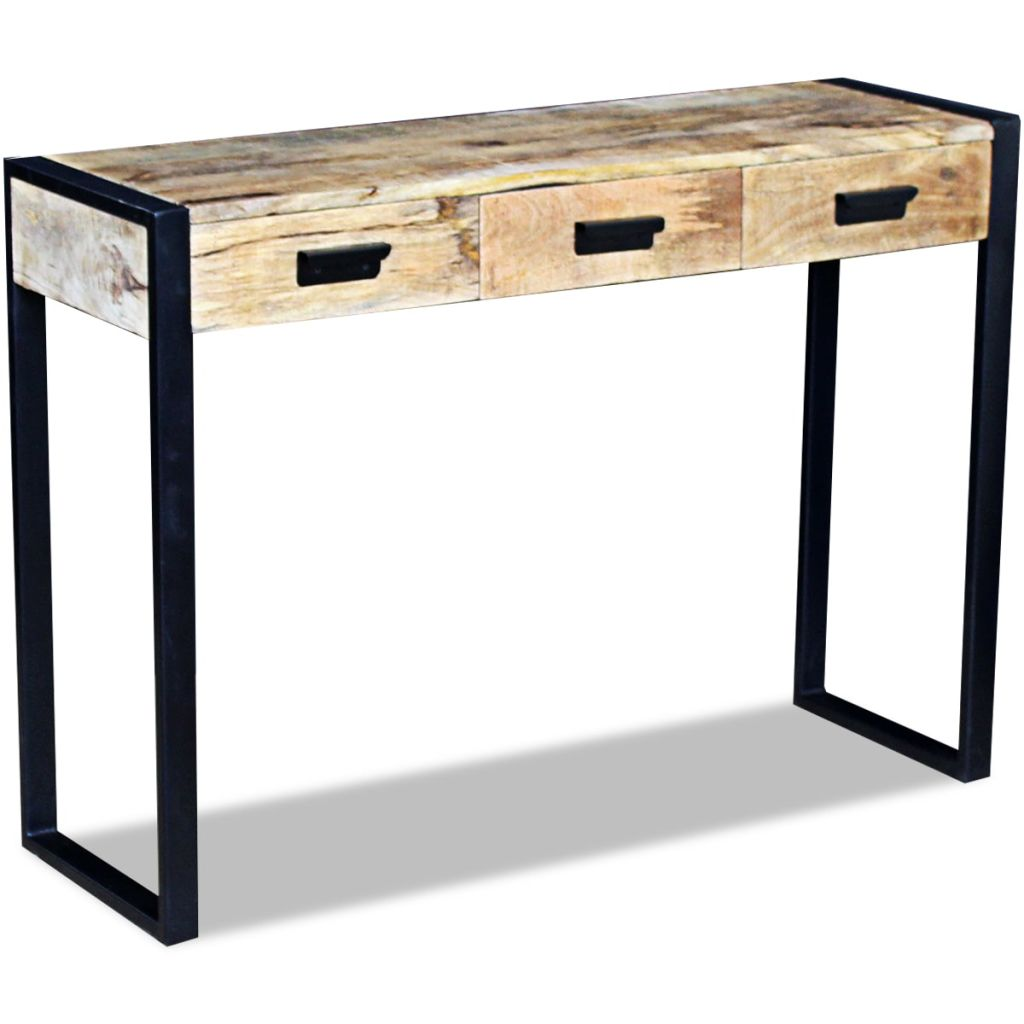 VidaXL Unique Console Table with 3 Drawers Solid Mango Wood