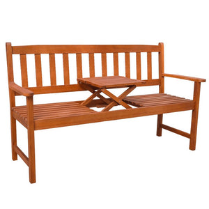 Natural Elements Acacia Wood Garden Bench with Pop-up Table