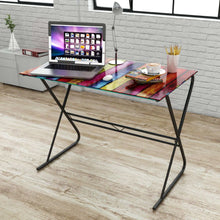 Natural Elements Glass Desk with Rainbow Pattern