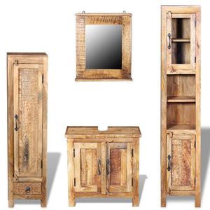 Natural Elements Bathroom Vanity Cabinet Set with Mirror and 2 Side Cabinets Solid Mango Wood