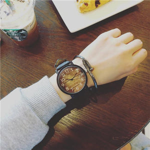 Watch - Black Brown Star Sky Wood Print Leather Unisex Wrist Watch