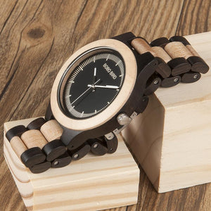 Watches - BOBO BIRD Ebony RedWood Or Pine Watch For Men Two-tone