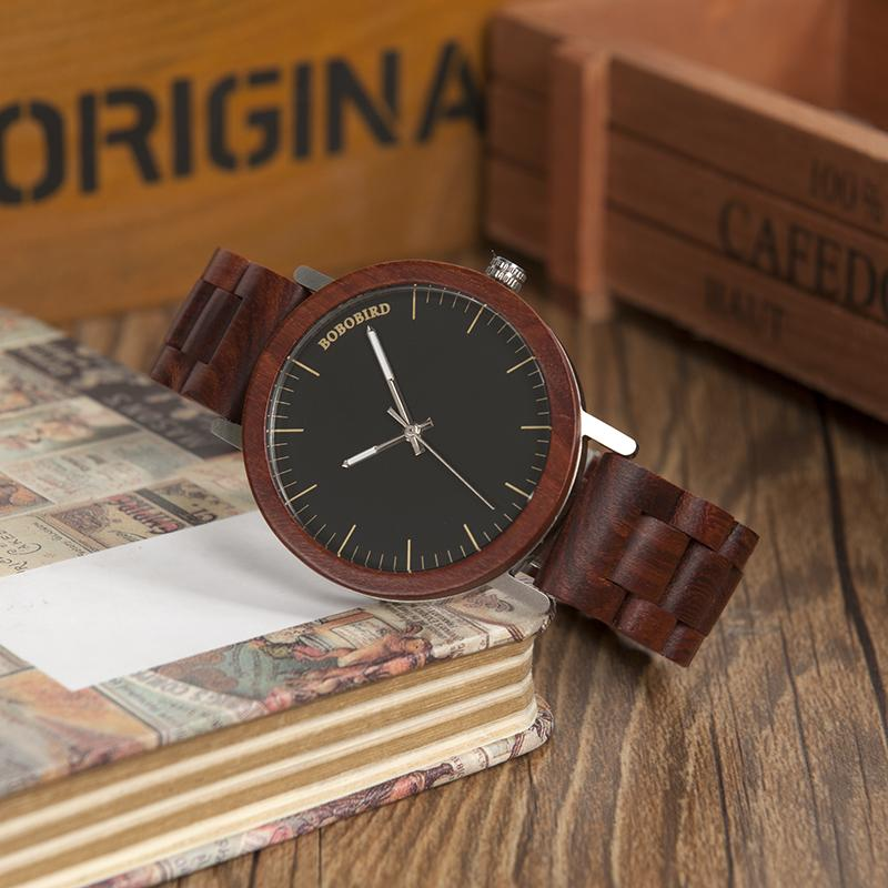 Watches - BOBO BIRD RedWood Men Natural Movement Quartz Wood Wristwatch
