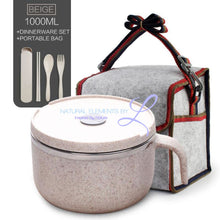 Wheat Straw Lunch To-Go Bowl Set With A Stainless Steel Inner Layer Beige