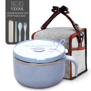 Wheat Straw Lunch To-Go Bowl Set With A Stainless Steel Inner Layer Blue