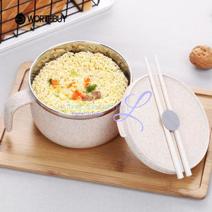 Wheat Straw Lunch To-Go Bowl Set With A Stainless Steel Inner Layer